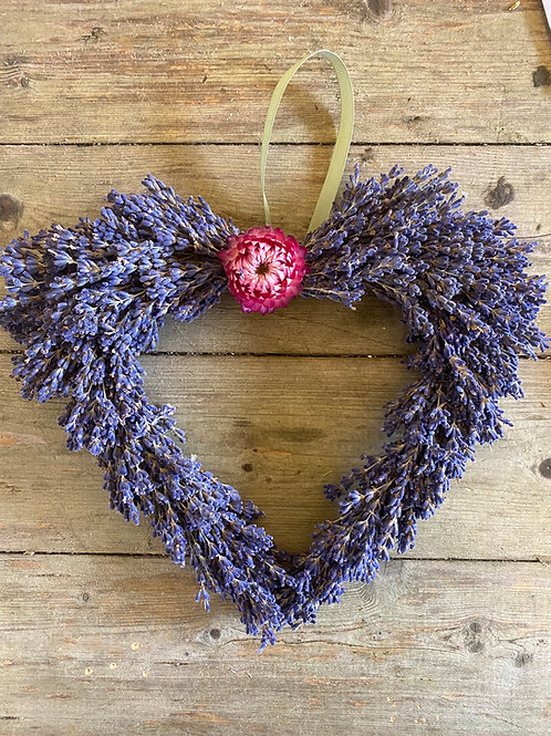 Dried Lavender and Helichrysum Wreath - Handmade
