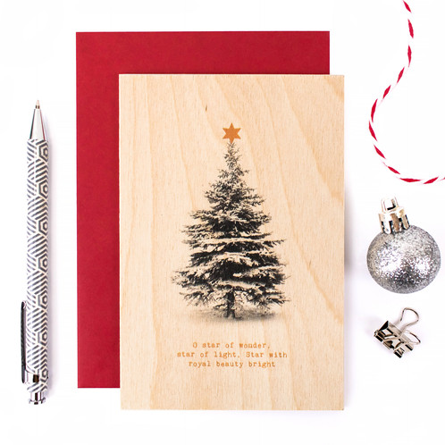 wooden christmas card o star of wonder