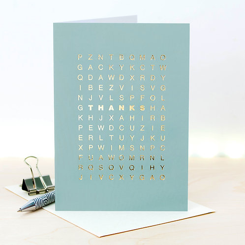 Thanks Metallic Gold Word Search Card x 6