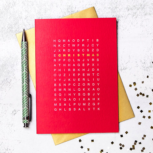 Red And Gold Christmas Word Search Puzzle Card