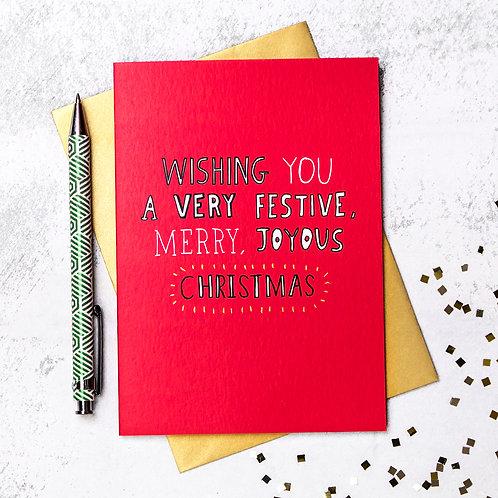 Festive Merry Joyous Christmas Card x 6