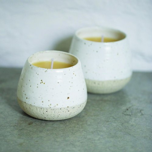 handmade ceramic and beeswax candles