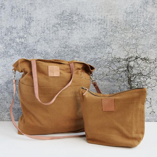 cotton & leather bag