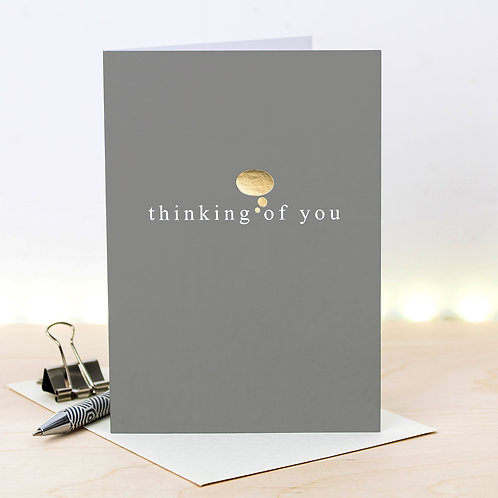 Thinking Of You Metallic Gold Foil Card x 6