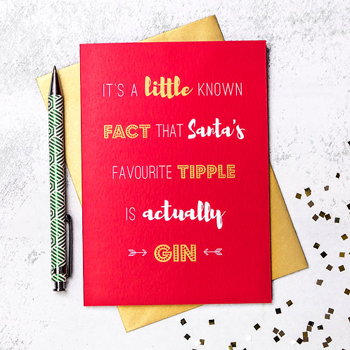 Funny Gin Christmas Card x 6