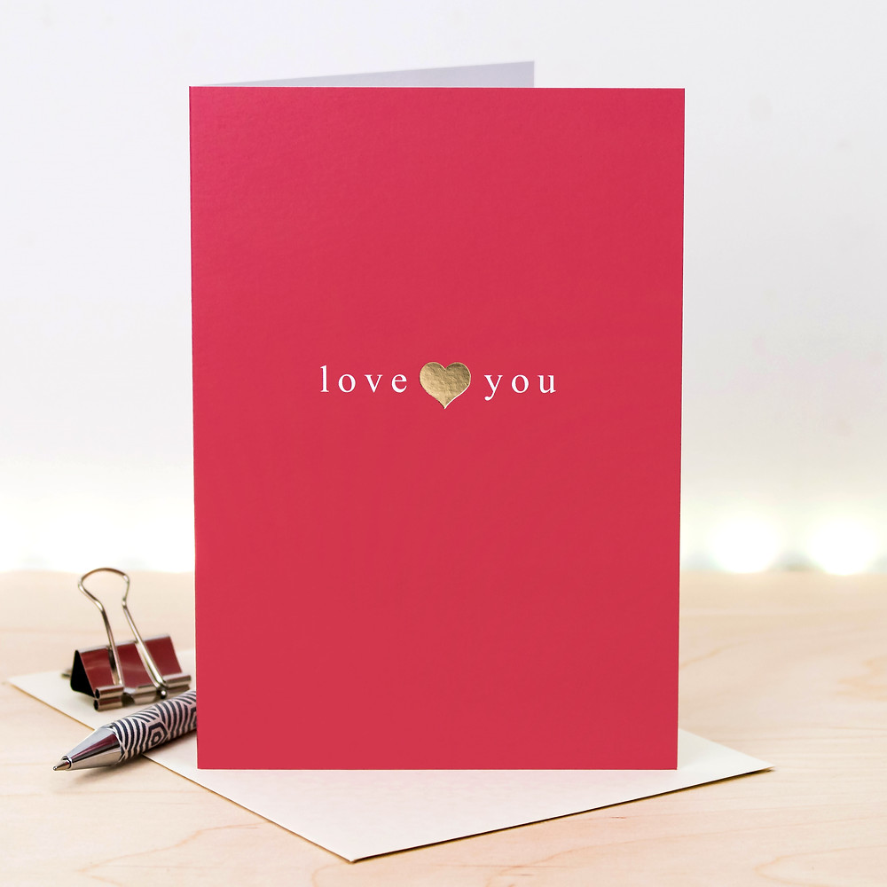 gold metallic foil love you card