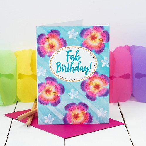 Tropical Hibiscus Flower Birthday Card x 6