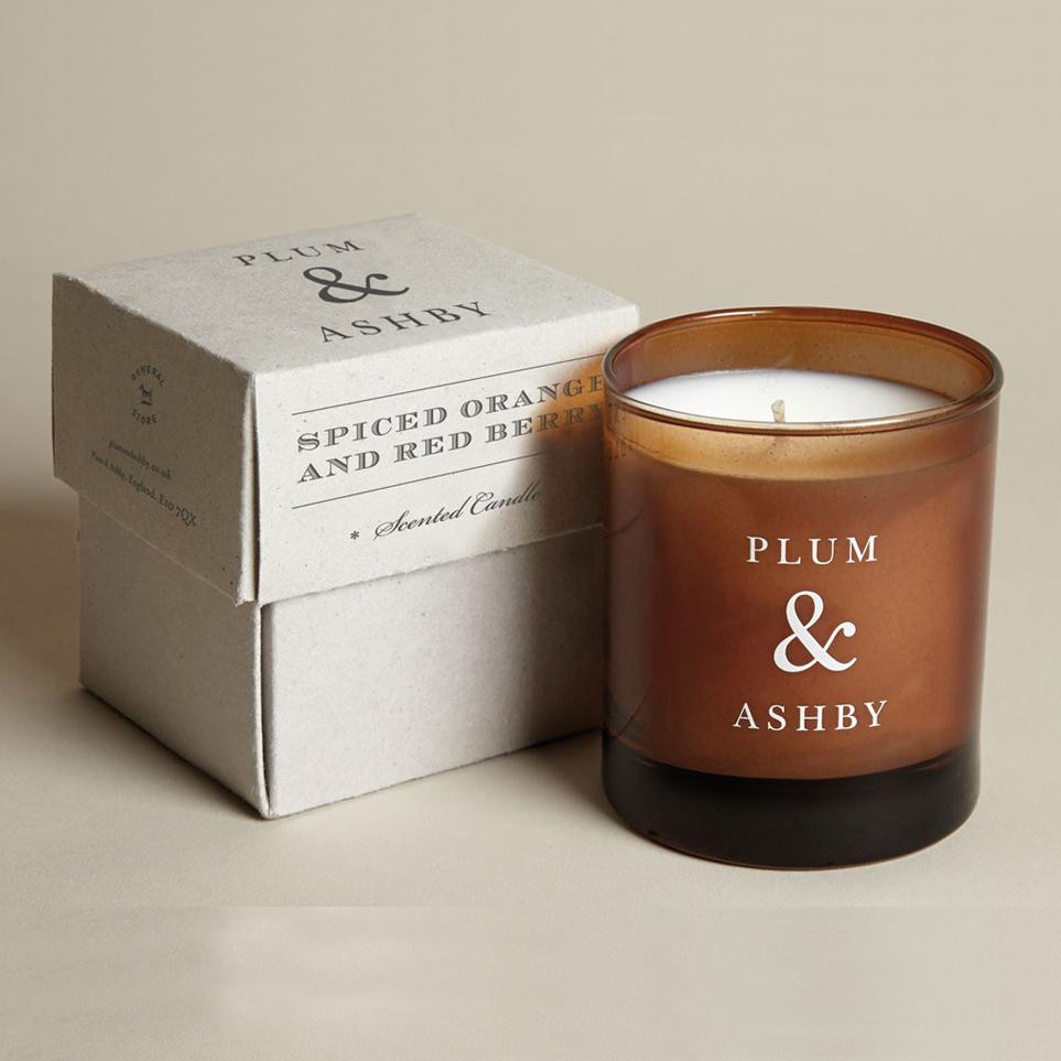 spiced orange & red berry scented candle