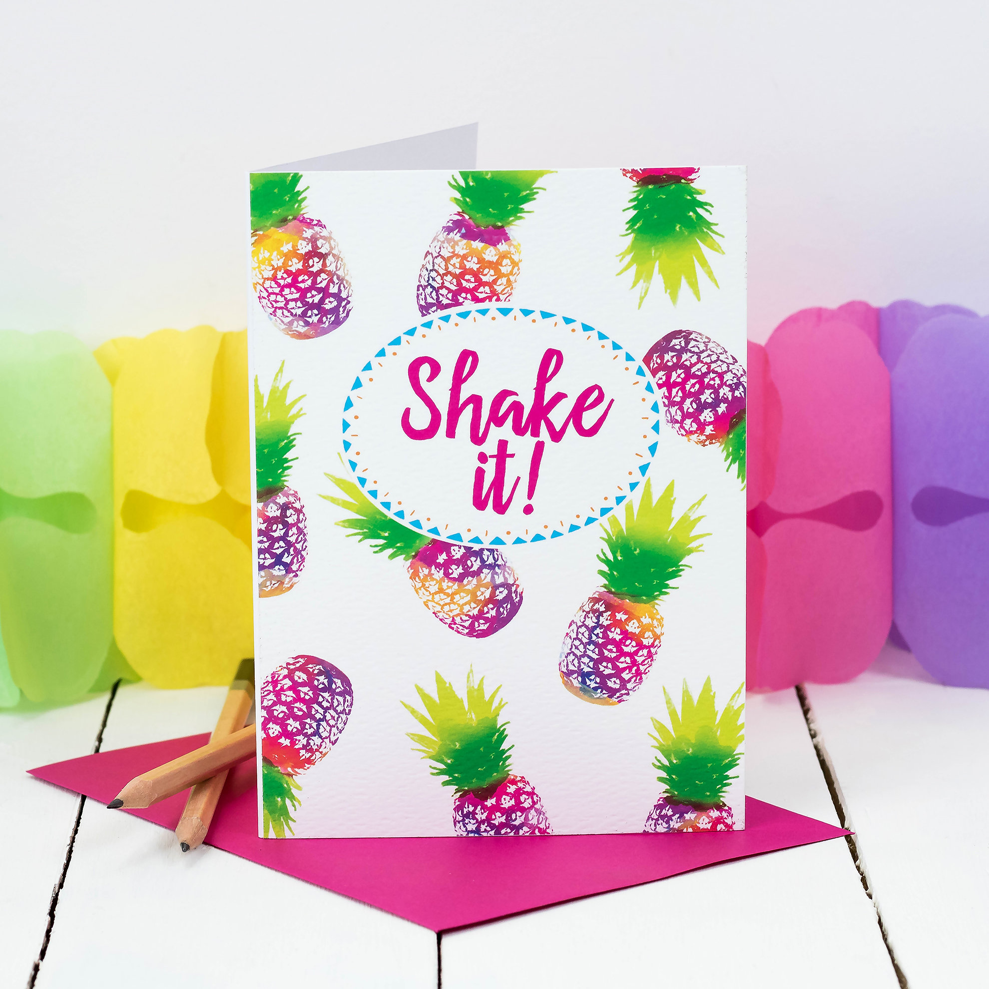 Tropical Pineapple Card Inspired By The Colours Of Brazil Shake It Perfect Birthday Or Party Invitation Send Direct To Recipient