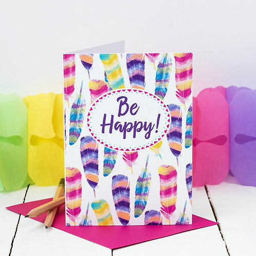 Be Happy! Tropical Feathers Card x 6