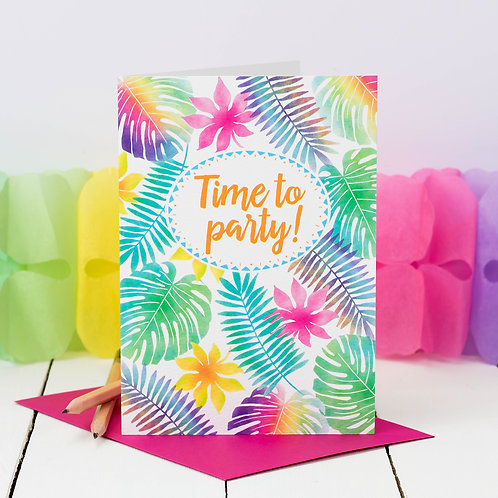 Tropical Jungle Foliage Birthday Card x 6
