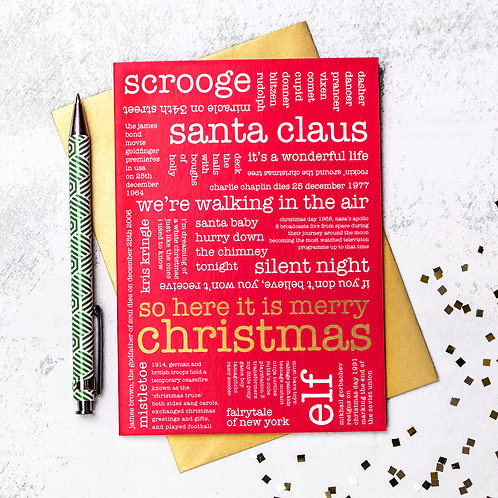 Red And Gold Festive Words Christmas Card