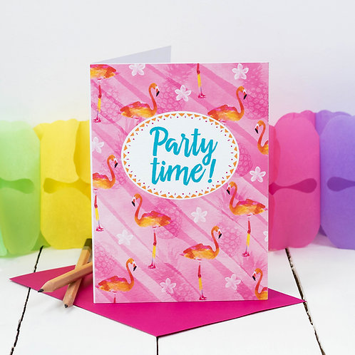 10 Pack Tropical Flamingo Birthday Party Invites
