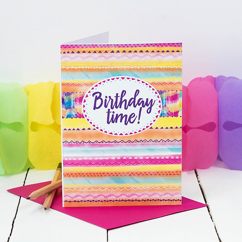 Birthday Time Tropical Aztec Pattern Card
