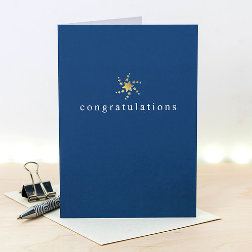 Congratulations Metallic Gold Foil Card x 6