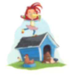 Girl, dog, chick, hen, dog house, wather vane, gouache, illustration board.