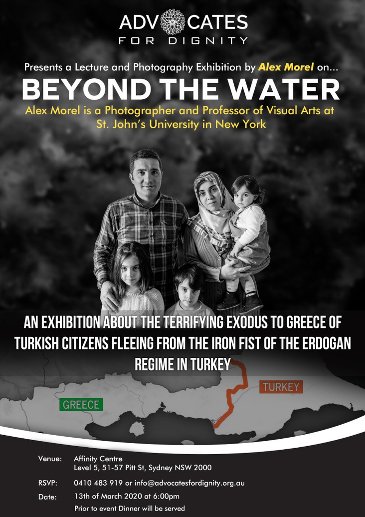 Beyond the Water is a photography exhibition and lecture about the terrifying exodus to Greece of Tu