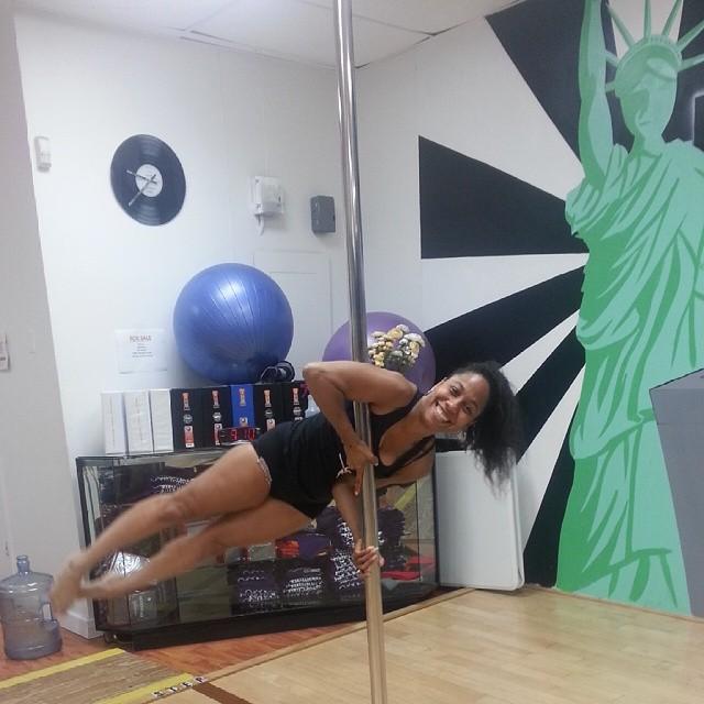 Pole fitness at jus hip hop, let's get i