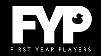 First Year Players logo, white text on a black background with a duck in the counter of the P