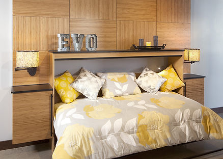 A contemporary style murphy bed creates an efficient dual-purpose room for guests