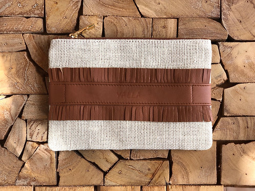ZAKI ecru burlap and brown leather
