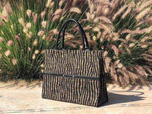 KABBOUR - Zebra fabric and black leather