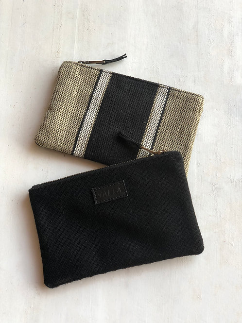 ZINA - Black burlap and striped cotton