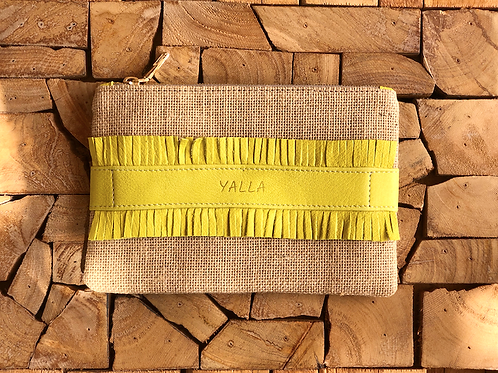 ZAKI natural burlap and yellow vegetable tanned leather