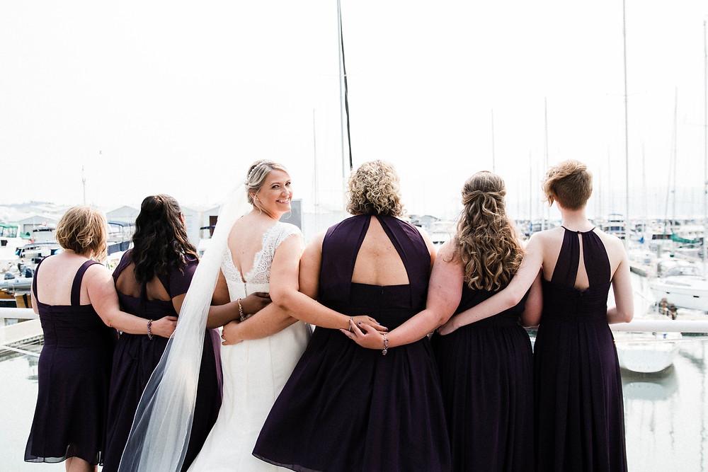 Bride & Bridesmaids // Marina Room Wedding