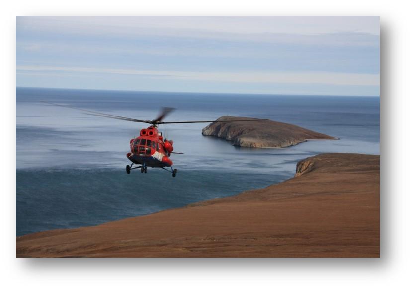 Вертолет, экспедиция на Чукотку