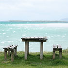 Bench to enjoy the views looking towards Isle of Harris from North Uist