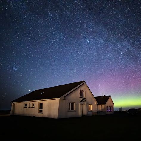 Aurora over Grianaig Guest House