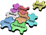 Alt=Puzzle pieces displaying names of disabilities