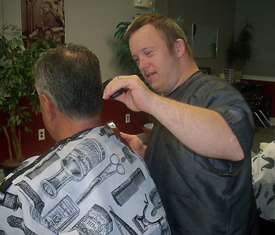 Participant Matt Cutting Hair In Barber Shop