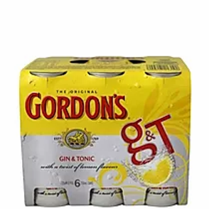 GORDON'S G&T 6 PACK 7% CANS 250ML