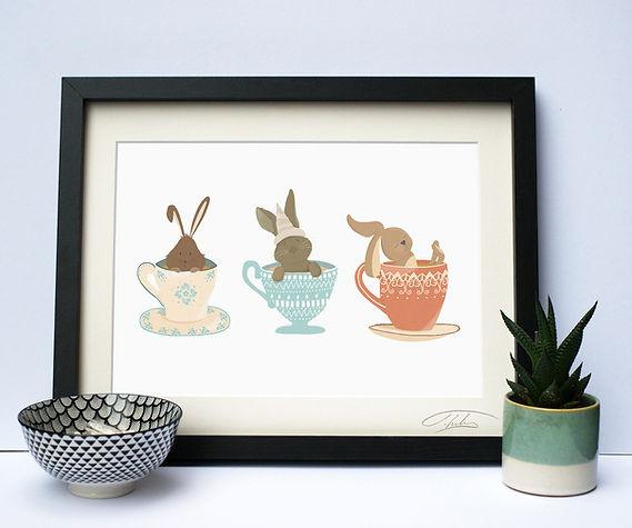 Rabbits In Teacups Print