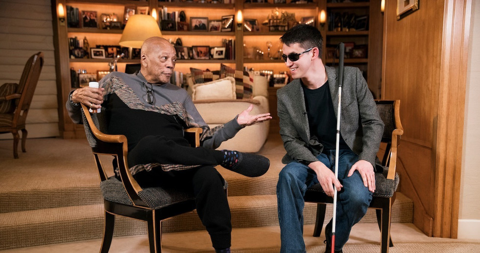 Quincy Jones & Justin Kauflin.  Photo by Adam Hart