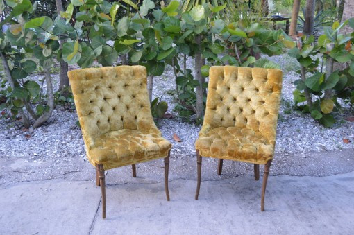 Green Olive Button Chairs