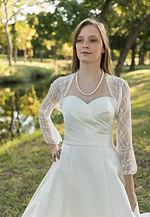 Ivory lace cropped bolero style jacket with 3/4 bell sleeves