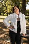 Greta style long sleeved coat in white mink