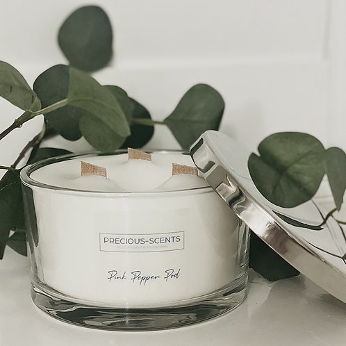 3 Wick Wood Wick Candle