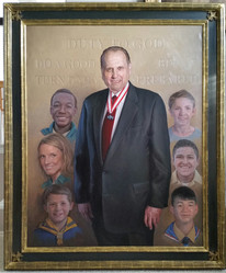 President Thomas Monson with scouts