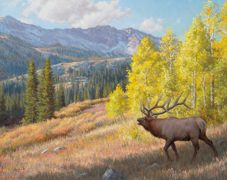 Elk, mountain, landscape, tree, oil painting, wildlife art, Ken Corbett art