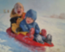 kids sledding art