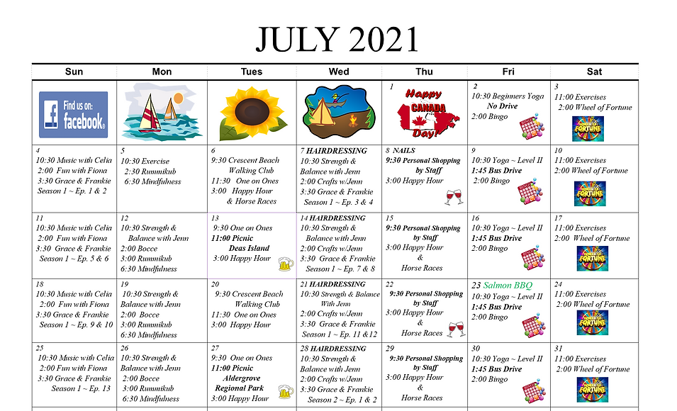 July 2021 Activity Calendar for Concord Retirement Residence