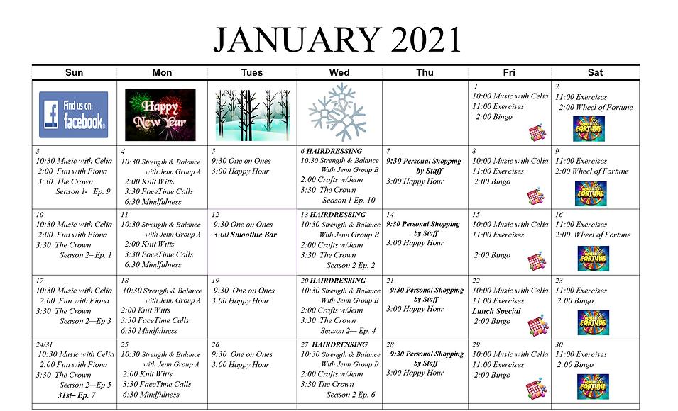 Concord Retirement Residence January 2021 Activity Calendar
