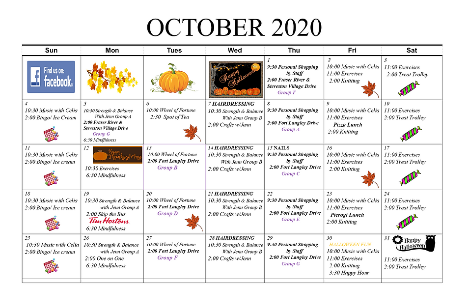October activity calendar for residents of Concord Retirement Residence