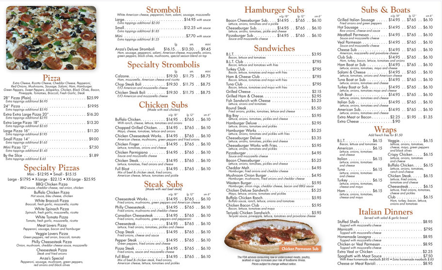 Anza's Pizza Full Menu Page 2