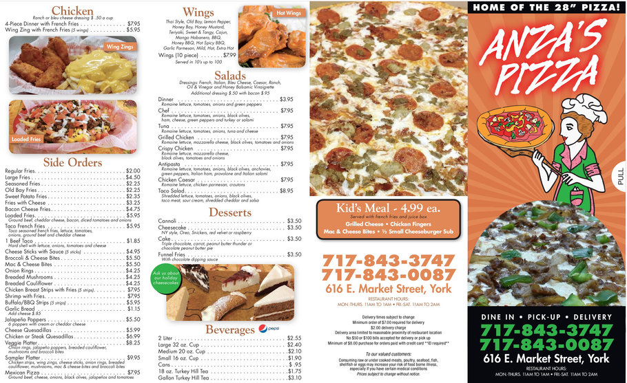 Anza's Pizza Full Menu Page 1