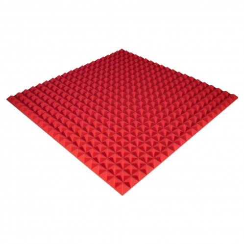 Панель из акустического поролона Ecosound Pyramid Color 30 мм 100x100 см красная